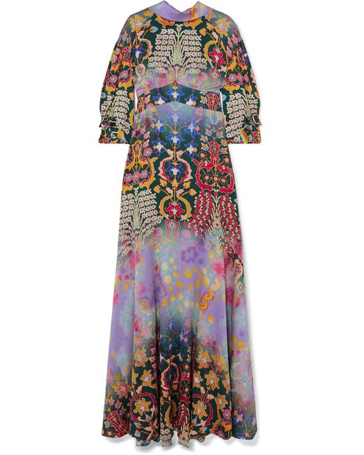 Peter Pilotto - Purple Floral-print Hammered-silk Gown - Lyst