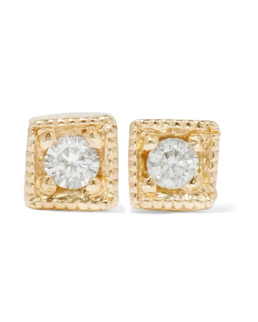 Jennie Kwon - Metallic Mini Square 14-karat Gold Diamond Earrings - Lyst