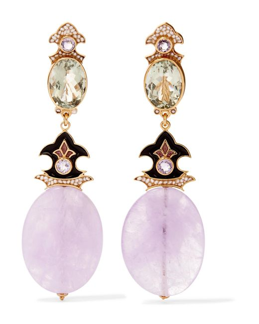 Percossi Papi - Pink Gold-plated And Enamel Multi-stone Clip Earrings - Lyst