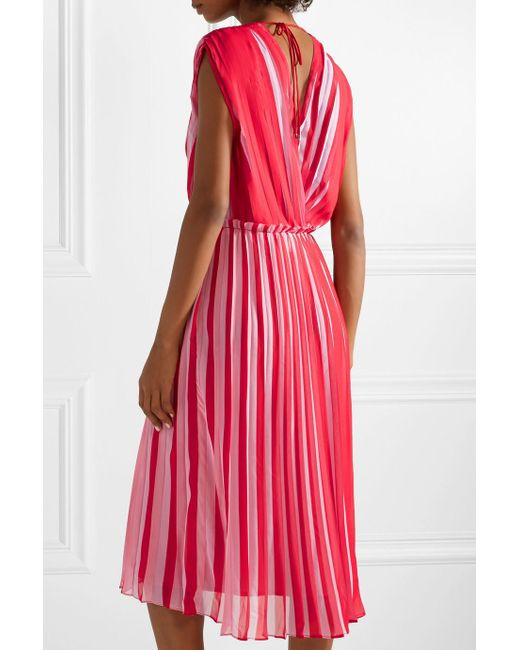 Wrap-effect Pleated Striped Georgette Midi Dress - Red Tome RA40th