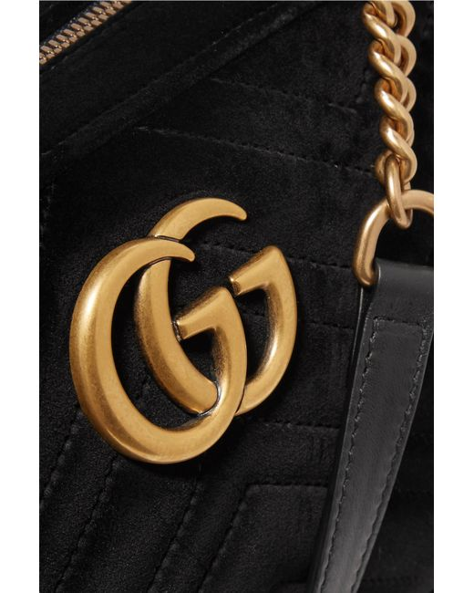 b88311559a0 ... Gucci - Black Gg Marmont Small Leather-trimmed Quilted Velvet Shoulder  Bag - Lyst ...