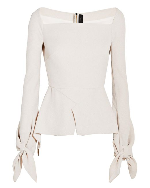 Roland Mouret | Multicolor Wicklow Knotted Textured-crepe Peplum Top | Lyst