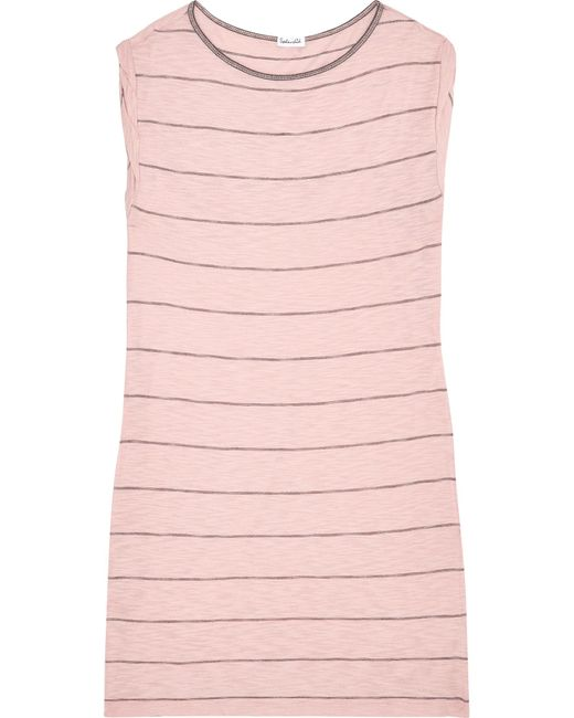 Splendid - Pink Striped Stretch Cotton And Modal-blend Mini Dress - Lyst