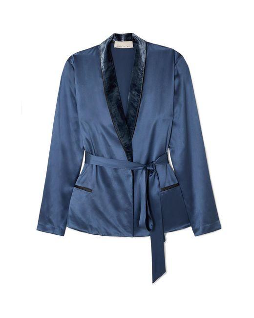 Fleur du Mal - Blue Velvet-trimmed Silk-satin Robe - Lyst