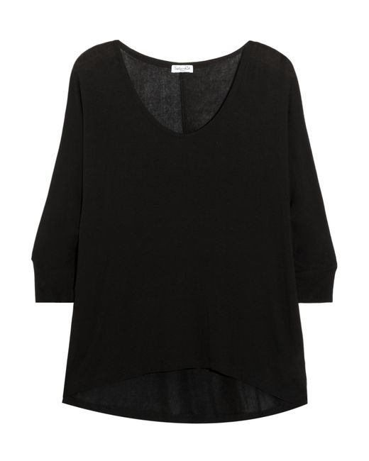 Splendid | Black Draped Stretch-jersey Top | Lyst