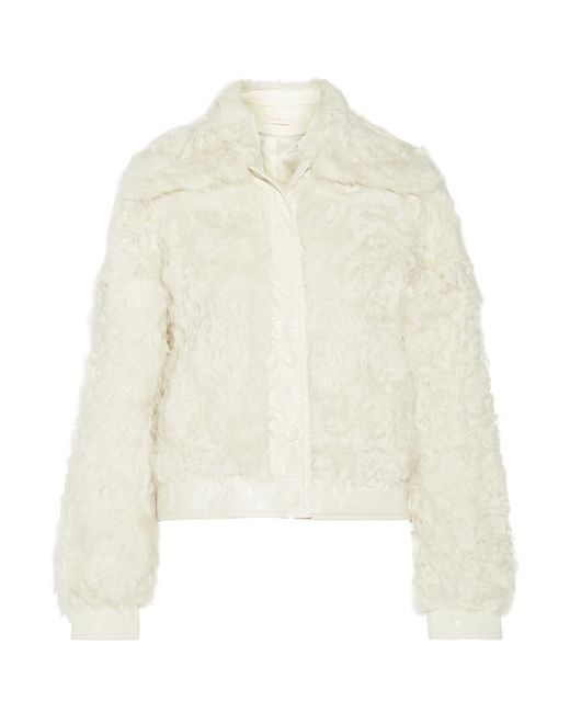 Tory Burch | Natural Camilla Faux Patent Leather-trimmed Shearling Coat | Lyst