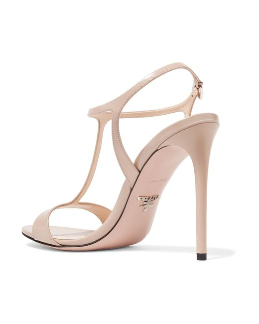 75d97ad4793 ... Prada - Natural 105 Glossed-leather Sandals - Lyst ...