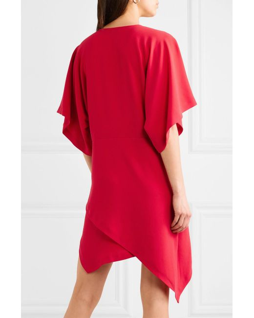 Ekima Asymmetric Draped Crepe Mini Dress - Red Iro yznmUHI