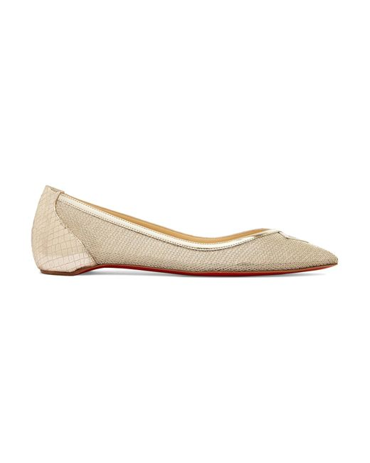 Christian Louboutin | Neoflat Metallic Mesh And Textured-leather Point-toe Flats | Lyst
