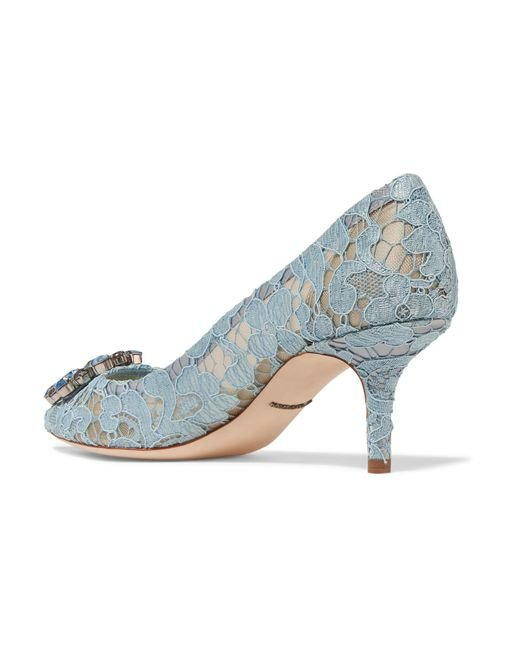 Crystal-embellished Corded Lace Pumps - Light blue Dolce & Gabbana e4nKq4w1