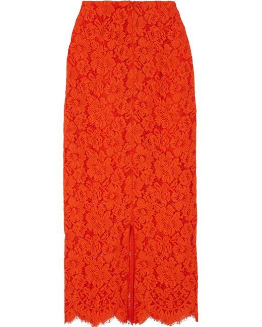 Ganni - Red Jerome Lace Midi Skirt - Lyst