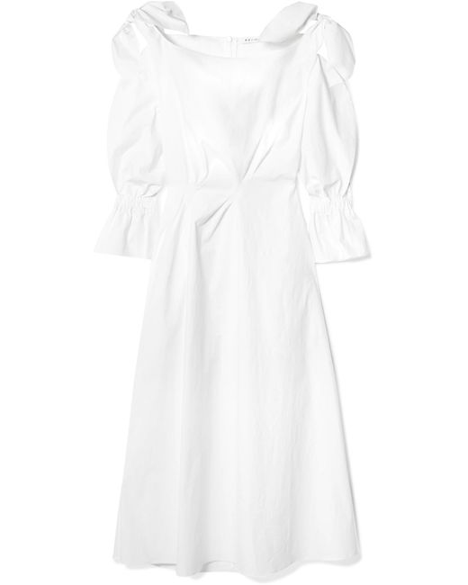 Rejina Pyo - White Michelle Bow-embellished Cotton-blend Midi Dress - Lyst