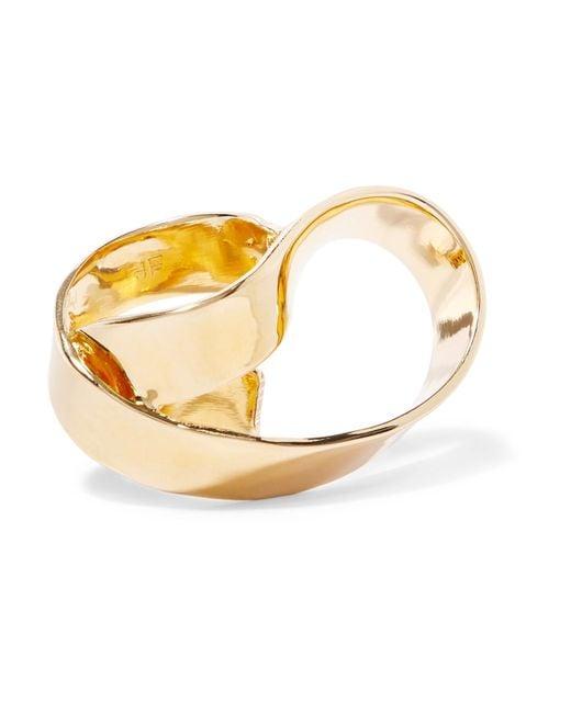 Jennifer Fisher | Metallic Overlap Script Gold-plated Ring | Lyst
