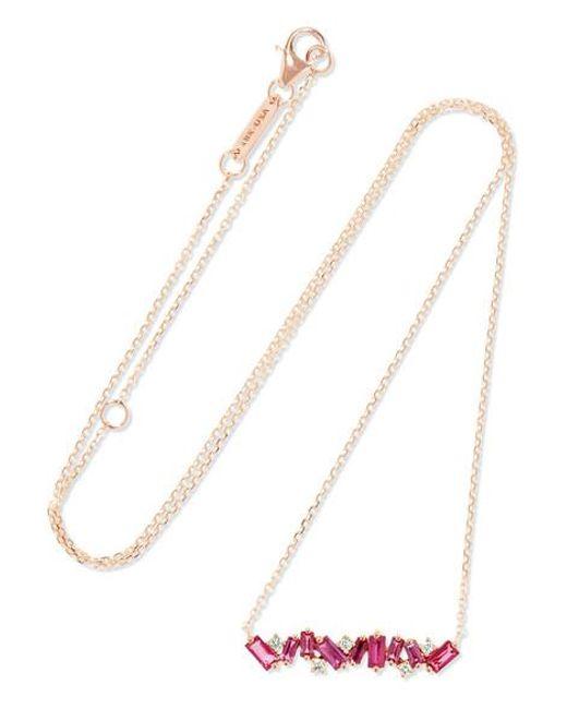 a10b116e05 Suzanne Kalan - Metallic 18-karat Rose Gold, Ruby And Diamond Necklace -  Lyst ...