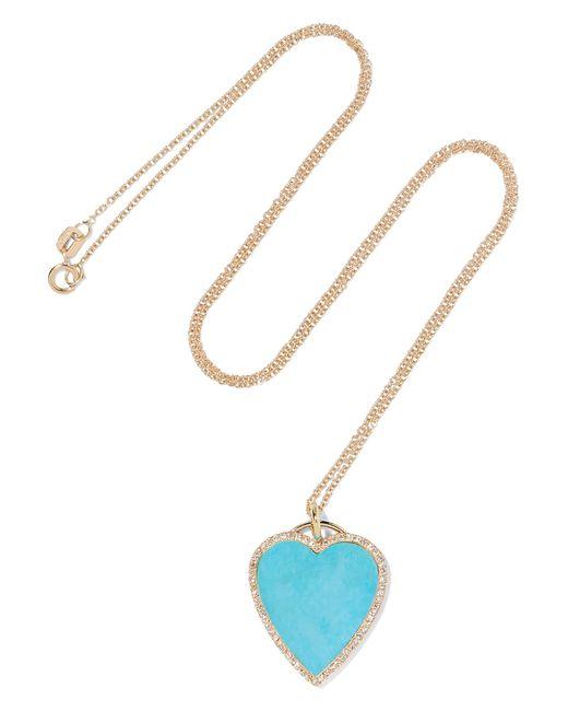Jennifer Meyer - Metallic 18-karat Gold, Turquoise And Diamond Necklace Gold One Size - Lyst