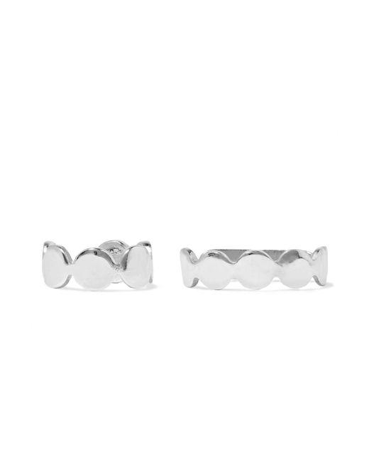 Saskia Diez - Metallic Paillettes Set Of Two Silver Ear Cuffs - Lyst