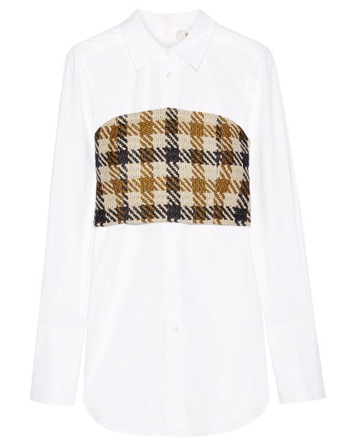 Sea   Brown Cotton-poplin And Checked Tweed Shirt   Lyst