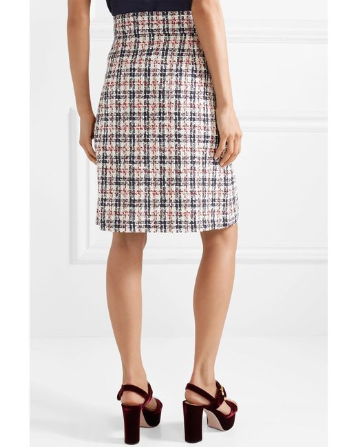 Lyst - Gucci Embellished Metallic Tweed Skirt in Red - Save 29% 09f3ea3143
