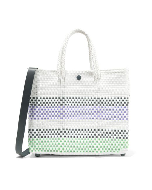 Truss   White Small Crossbody Striped Woven Raffia-effect Shoulder Bag   Lyst