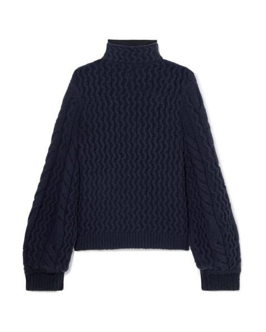 Victoria, Victoria Beckham - Blue Cable-knit Turtleneck Sweater - Lyst