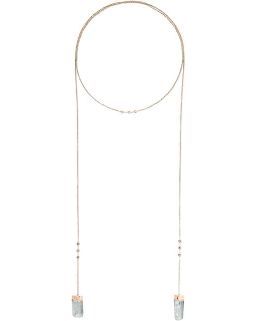 Jacquie Aiche - Metallic 14-karat Rose Gold, Diamond And Aquamarine Necklace - Lyst