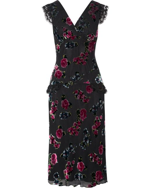 Anna Sui   Black Lace-trimmed Floral-print Devoré-chiffon Midi Dress   Lyst