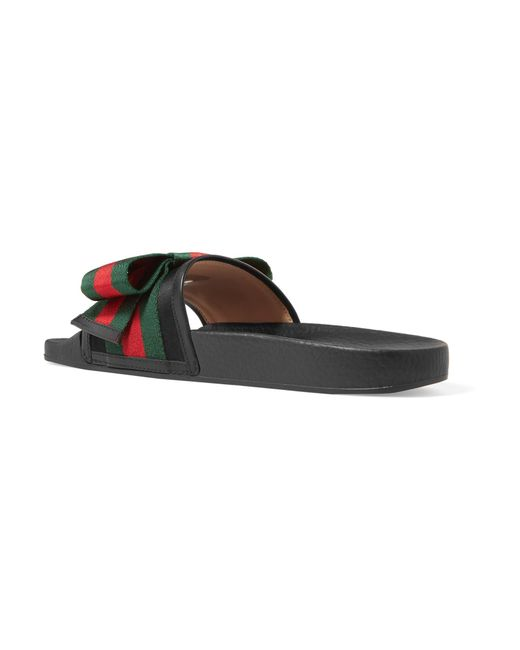 6ff6702505f Gucci Satin Slide With Web Bow in Black - Save 49% - Lyst