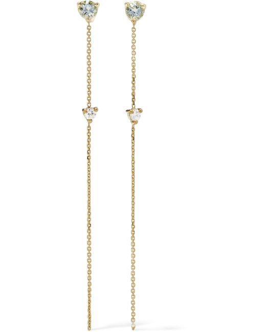 Wwake - Metallic Two Stone 14-karat Gold, Tourmaline And Diamond Earrings - Lyst
