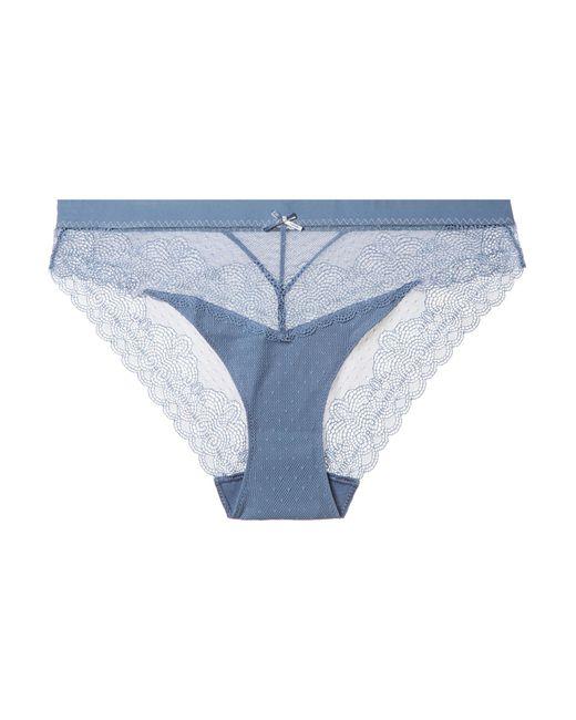 Chantelle - Blue Le Marais Stretch-lace And Point D'esprit Briefs - Lyst