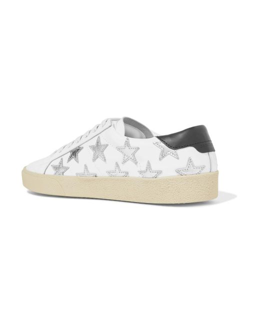 first rate 416d7 41e34 saint -laurent-white-Court-Classic-Appliqued-Metallic-trimmed-Leather-Sneakers.jpeg