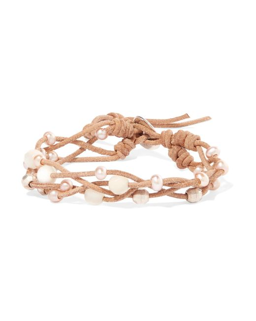 Chan Luu - Natural Suede, Pearl And Silver-tone Bracelet - Lyst
