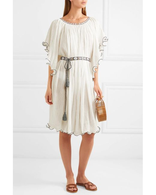 Shore Serena Ruffled Embroidered Crinkled-cotton Dress - White Talitha Under 50 Dollars Authentic Cheap Sale Best Store To Get Cheap Sale Best Seller DMjSh