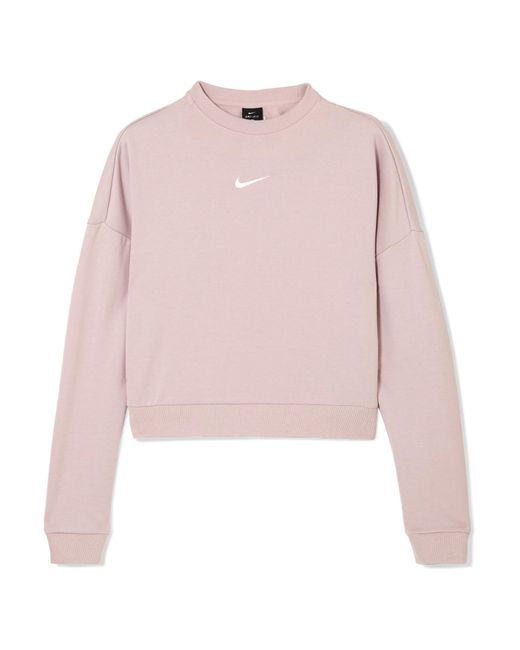 Nike - Pink Dry Cropped Cutout French Terry Sweatshirt - Lyst