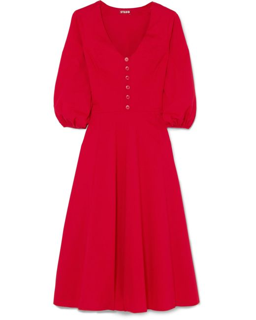 Robe En Stretch Staud Popeline Rouge Veronica Lyst De Coloris Coton qMVGzUpS