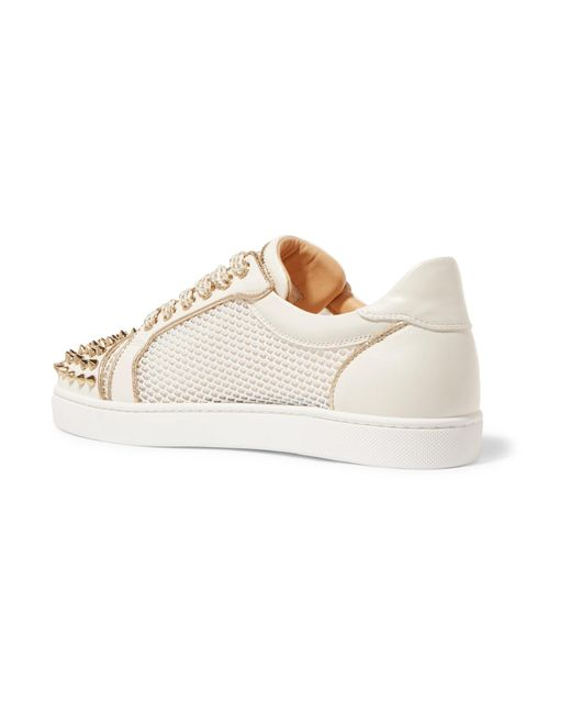 c8387dc9074 ... czech christian louboutin white ac vieira spike leather and mesh sneakers  lyst b84bf ad063