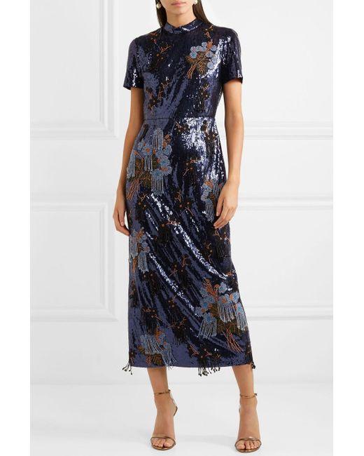 Emilie Embellished Sequined Crepe Midi Dress - Blue Erdem izjf8