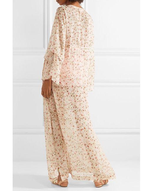 Sunset Floral-print Silk-chiffon Kimono - Baby pink Paloma Blue Clearance Cheap Online 2018 New Cheap Price Sast Sale Online Cheap Classic wbgxwvsj