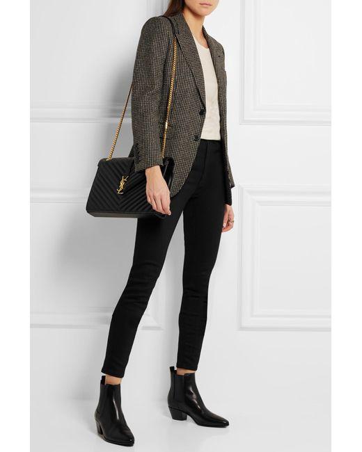 ... Saint Laurent - Black Cassandre Large Quilted Textured-leather Shoulder  Bag - Lyst ... 3be3104129