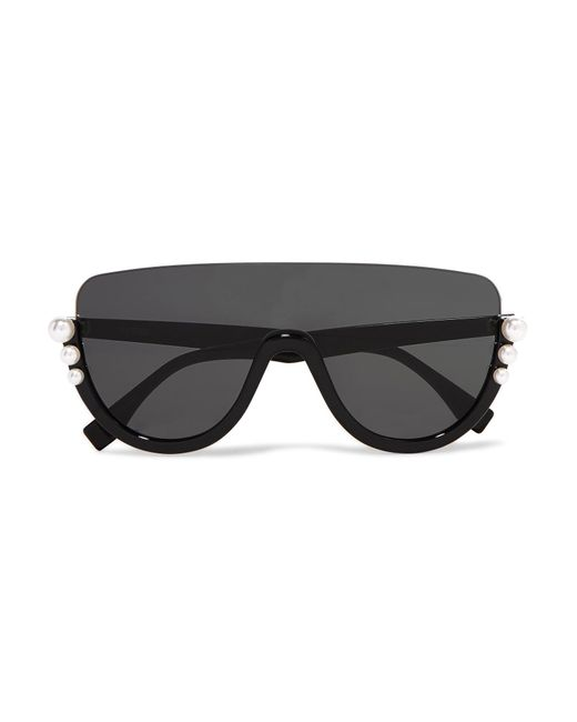 Fendi - Black Faux Pearl-embellished D-frame Acetate Sunglasses - Lyst