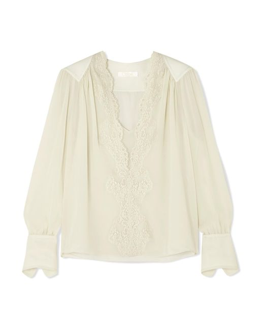 Chloé - Gray Lace-trimmed Silk-chiffon Blouse - Lyst