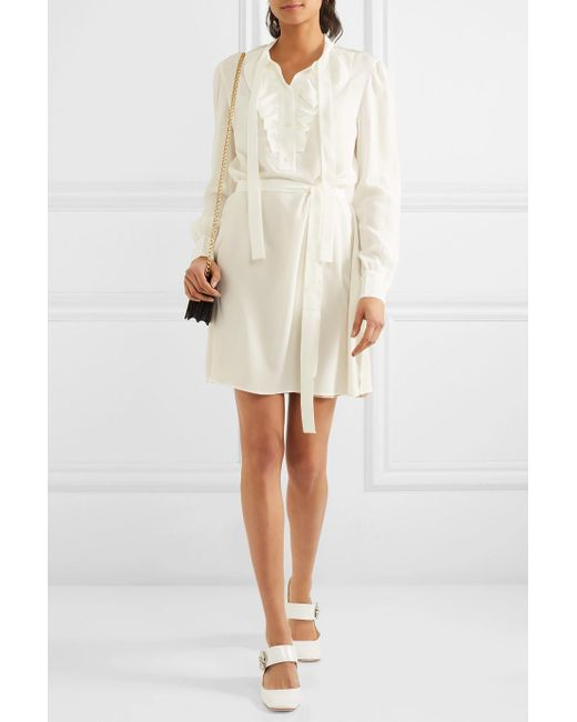 Free Shipping Best Cheap Sale Inexpensive Pussy-bow Ruffled Silk Crepe De Chine Mini Dress - Ivory Prada Buy Cheap Sneakernews 2018 Newest Cheap Price Brand New Unisex Cheap Online qgdaX