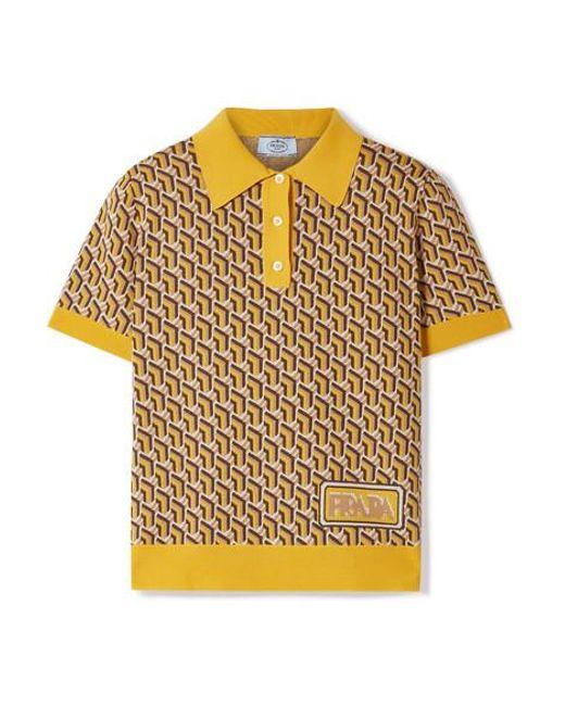 Prada - Yellow Intarsia Silk Polo Shirt - Lyst