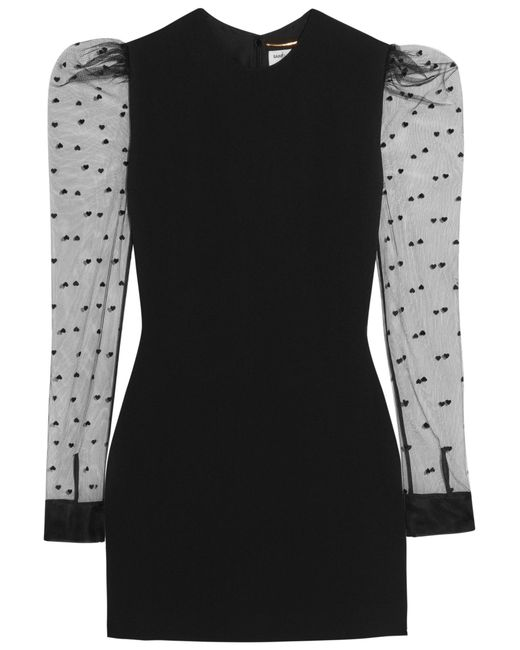 Saint Laurent | Black Flocked Tulle-paneled Crepe Mini Dress | Lyst