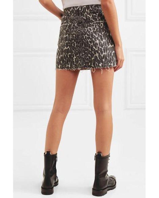 3bce921d33 ... Mother - Multicolor The Vagabond Distressed Leopard-print Denim Mini  Skirt - Lyst ...