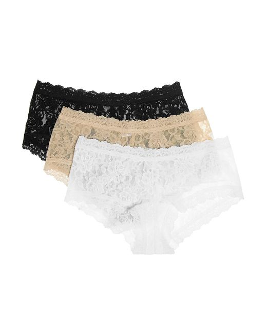 Hanky Panky - Black Signature Set Of Three Stretch-lace Boy Shorts - Lyst