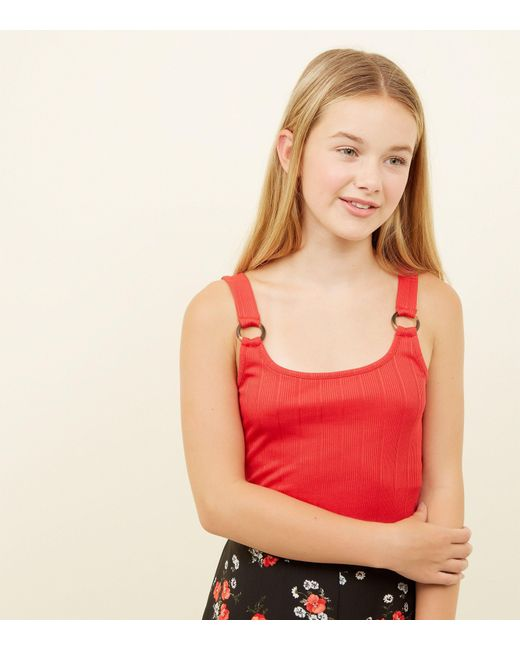 db22864e6ec4 New Look Girls Red Ring Strap Ribbed Cami in Red - Lyst