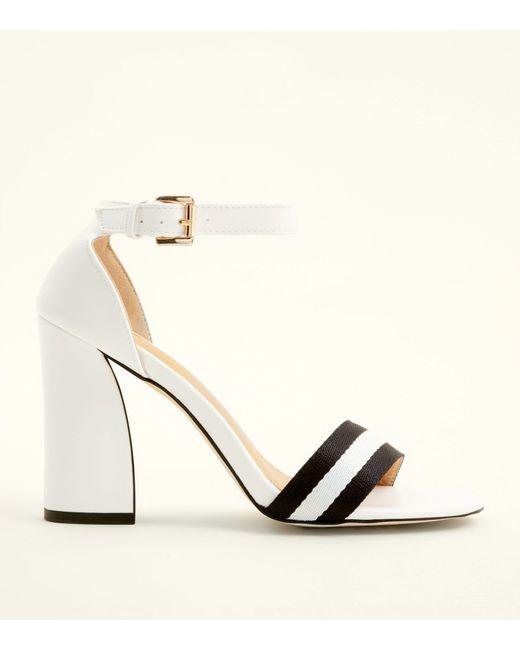 354e35da97f8 New Look White Stripe Strap Block Heel Sandals in White - Lyst