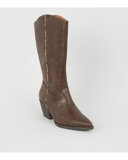 0705c95b62b New Look Brown Faux Snake Trim Western Calf Boots in Brown - Lyst