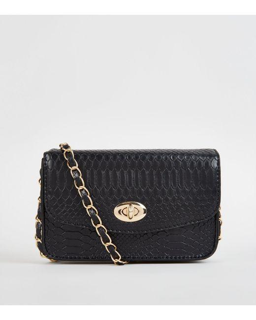 68e3830c9c9e New Look Black Faux Croc Chain Shoulder Bag in Black - Lyst