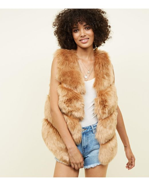 New Look - Natural Mink Pelted Faux Fur Gilet - Lyst